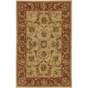 Surya A111-23 2' x 3' Rectangular Ancient Treasures Ink Handmade Area Rug Made with 100% Semi-Worsted New Zealand Wool and Made in