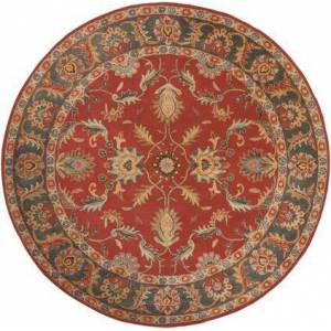 Surya Caesar CAE-1007 8' Round Traditional Rug in Rust  Charcoal  Mustard  Taupe  Dark Brown  Burnt