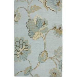Rizzy Home DIMDI161500430508 Dimensions DI1615-5' x 8' Hand-Tufted New Zealand Wool Blend Rug in Light Blue  Rectangle