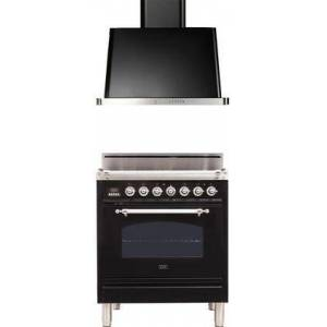 """Ilve 2 Piece Kitchen Appliances Package with UPN76DVGGNX  30"""" Freestanding All Gas Range and UAM76BK  30"""" Wall Mount Convertible Hood In"""