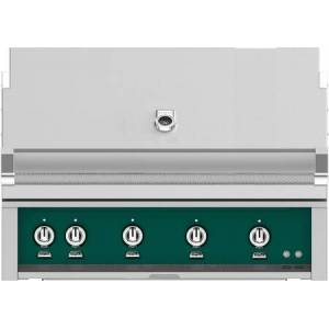 """Hestan GMBR42NGGR 42"""" BuiltIn Natural Gas Grill with 4 Trellis And Sear Burners  Rotisserie  774 Sq. In. Grilling Surface  Horizon Hood  Warming Rack  ETL"""