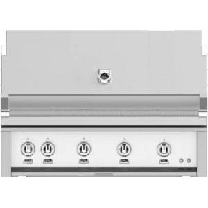 """Hestan GMBR42LPWH 42"""" BuiltIn Liquid Propane Gas Grill With 4 Trellis And Sear Burners  Rotisserie  774 Sq. In. Grilling Surface  Horizon Hood  Warming Rack"""