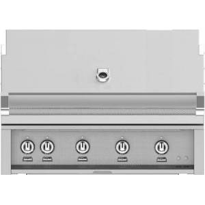 """Hestan GMBR42LP 42"""" BuiltIn Liquid Propane Gas Grill With 4 Trellis And Sear Burners  Rotisserie  774 Sq. In. Grilling Surface  And Horizon Hood  Warming"""