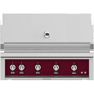 """Hestan GMBR42NGBG 42"""" BuiltIn Natural Gas Grill With 4 Trellis And Sear Burners  Rotisserie  774 Sq. In. Grilling Surface  Horizon Hood  Warming Rack  ETL"""