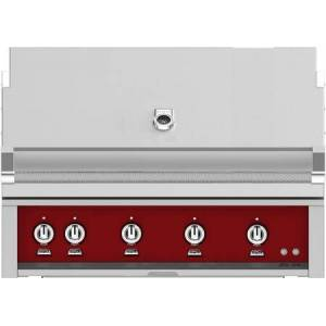 """Hestan GMBR42NGRD 42"""" BuiltIn Natural Gas Grill With 4 Trellis And Sear Burners  Rotisserie  774 Sq. In. Grilling Surface  Horizon Hood  Warming Rack  ETL"""