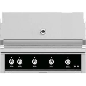 """Hestan GMBR42LPBK 42"""" BuiltIn Liquid Propane Gas Grill with 4 Trellis And Sear Burners  Rotisserie  774 Sq. In. Grilling Surface  Horizon Hood  Warming Rack"""