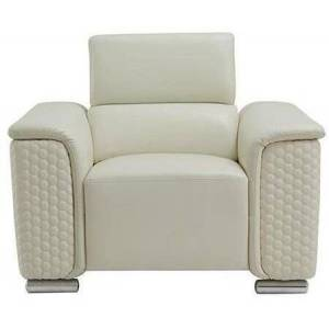 Global Furniture USA U9460-BLANCHE WHITE-CH Accent Chair with Tufted Sides and Rounded Chrome Feet in Blanche