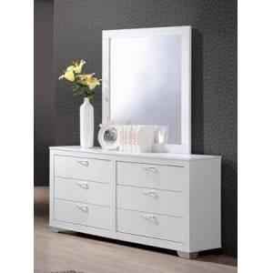 Myco Furniture Brahma Collection BR1235-M-DR-WH Dresser and Mirror in White