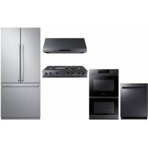 """5 Piece Kitchen Package with 36"""" French Door Refrigerator  30"""" Electric Double Wall Steam Oven  30"""" Electric Double Wall Steam Oven  48"""" Gas Rangetop"""