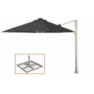 """Shadowspec SU7 Series KITP7SQ25PBCHT (A) Rotating 8'2""""/2.5m Square Cantilever Umbrella with Portable Base Fixing in Charcoal"""