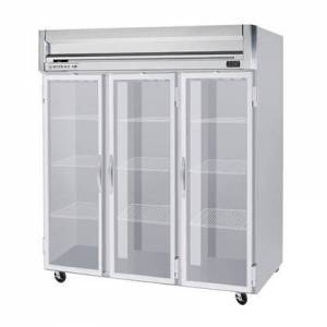 """Beverage-Air HF3-5G 78"""" Horizon Series Three Section Glass Door Reach-In Freezer  74 cu.ft. capacity  Stainless Steel Front  Gray Painted Sides  Aluminum"""