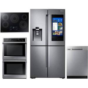 """Samsung 4 Piece Kitchen Package with RF22N9781SR 36"""" Smart French Door Refrigerator  NV51K6650DS 30"""" Smart Electric Double Wall Steam Oven NZ30K7570RS 30"""""""