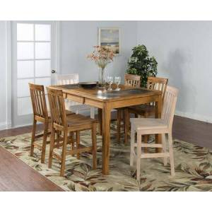Sunny Designs Sedona Collection 1274ROKIT1 5-Piece Dining Room Set with Table and 4 Barstools in Rustic Oak