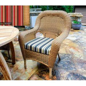 Tortuga Sea Pines Collection LEX-DC-M-MONS Dining Chair in Mojave Wicker and Monserrat Sangria Fabric