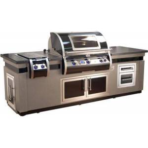 """Fire Magic Echelon Black Diamond Series Island with H790I8L1NW 36"""" Natural Gas Grill  32815H 11"""" Gas Side Burner  53938HSC 38"""" Double Access Door  53802HSC 14"""""""