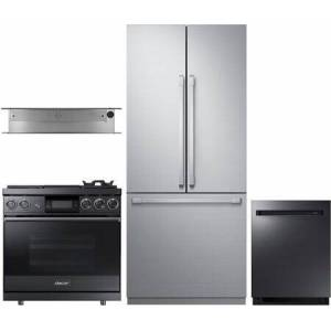 """Dacor 4 Piece Kitchen Appliances Package with DRF367500AP 36"""" French Door Refrigerator  DOP36M94DLM 36"""" Dual Fuel Gas Range  MRV36ERM 36"""" Hood and"""