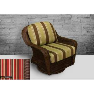 Tortuga Sea Pines Collection LEX-25-J-MONS Swivel Gliding Club Chair in Java Wicker and Monserrat Sangria Fabric