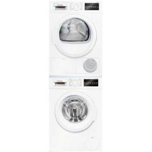 """Bosch Compact White Stacked Laundry Pair with WAT28400UC 24"""" Washer  WTG86403UC 24"""" Electric Dryer and WTZ20410UC Stacking"""