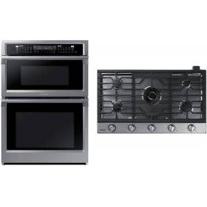 """Samsung 2 Piece Wi-Fi Connected Kitchen Appliances Package with NQ70M6650DS 30"""" Electric Double Wall Steam Oven/Microwave Combo and NA36N7755TS 36"""" Gas"""