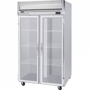 """Beverage-Air HFS2-1G 52"""" Horizon Series Two Section Glass Door Reach-In Freezer  49 cu.ft. Capacity  Stainless Steel Front  Gray Painted Sides and Stainless Steel"""