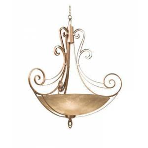 """Kalco Mirabelle 5197CI/ART 58"""" Pendant in Country Iron with Art Nouveau Natural Bowl Glass"""