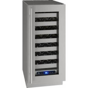 """U-Line UHWC515-SG41A 5 Class 15"""" Right Hinge Wine Captain with 2.9 cu. ft. Capacity  Seven Full-Extension Wine Racks  LED Lighting and Soft Close Door in"""