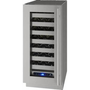 """U-Line UHWC515-SG51A 5 Class 15"""" Left Hinge Wine Captain with 2.9 cu. ft. Capacity  Seven Full-Extension Wine Racks  LED Lighting and Soft Close Door in"""