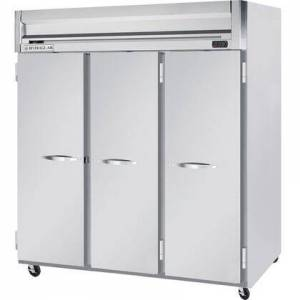 """Beverage-Air HFS3-5S 78"""" Horizon Series Three Section Solid Door Reach-In Freezer  74 cu.ft. Capacity  Stainless Steel Front  Gray Painted Sides and Stainless"""