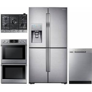 """Samsung 4 Piece Kitchen Appliances Package with RF23J9011SR 36"""" 4 Door French Door Refrigerator  NV51K7770DS 30"""" Double Wall Steam Oven  NA30N6555TS 30"""" Gas"""