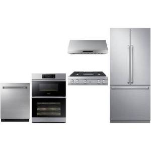 """5 Piee Kitchen Appliances Package with 36"""" French Door Refrigerator  DOC30M977DS 30"""" Electric Double Wall Steam Oven/Microwave Combo  36"""" Gas"""