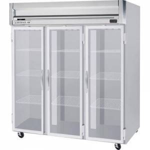 """Beverage-Air HFS3-5G 78"""" Horizon Series Three Section Glass Door Reach-In Freezer  74 cu.ft. Capacity  Stainless Steel Front  Gray Painted Sides and Stainless"""