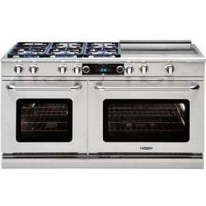 """Capital CSB606GG-N 60"""" Connoisseurian Series Dual Fuel Natural Gas Range with Self Clean  6 Sealed Burners  and 24"""" Griddle  in Stainless"""