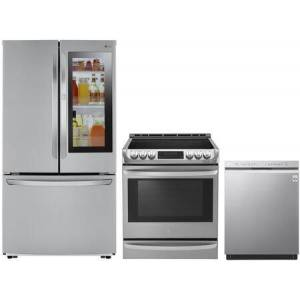 """LG 3 Piece Kitchen Appliances Package with LFCS27596S 36"""" French Door Refrigerator  LSE4613ST 30"""" Slide-in Electric Range and LDF5545SS 24"""" Built-In"""