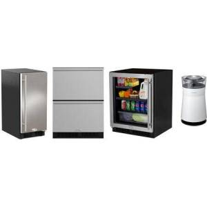 """Marvel 4 Piece Kitchen Appliances Package with MA24BRG3LS 24"""" Compact Refrigerator  ML24RDS3NS 24"""" Counter Depth Refrigerator  ML15CLS2RS 15"""" Ice Maker and"""