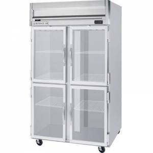 """Beverage-Air HFS2-1HG 52"""" Horizon Series Two Section Glass Half Door Reach-In Freezer  49 cu.ft. Capacity  Stainless Steel Front  Gray Painted Sides and Stainless"""
