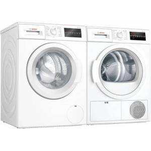 """Bosch Compact White Laundry Pair with WAT28400UC 24"""" Washer and WTG86403UC 24"""" Electric"""