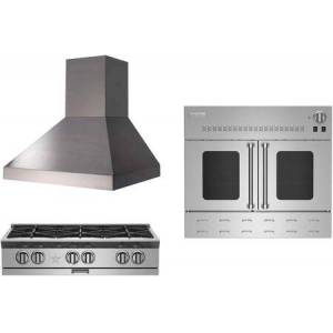 """3-Piece Kicthen Package with BSPRT366BLP 36"""" Gas Cooktop  HA036ML 36"""" Wall Mount Convertible Hood and BWO36AGSNG 36"""" Gas Single Wall Oven in"""