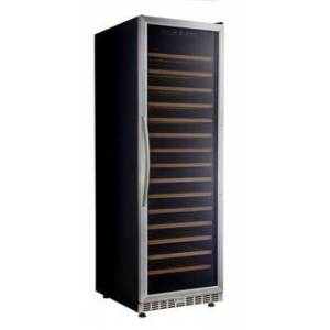 """Eurodib USF168S 24"""" Stainless Steel Single Temperature Zone Wine Cabinet with Up to 165 Bottles  15 Beech Wood Shelves and Fan Forced Evaporator Cooling"""