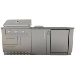 """Sunstone SCP7STAND11 84"""" Grill Island Package with 30"""" RUBY3B Grill  10"""" Single Drop-in Burner  21"""" Outdoor Rated Refrigerator  34"""" Gas Grill Base Cabinet"""