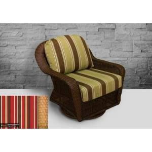 Tortuga Sea Pines Collection LEX-25-M-MONS Swivel Gliding Club Chair in Mojave Wicker and Monserrat Sangria Fabric