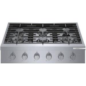 """Bosch RGM8658UC 36"""" 800 Series Stainless Steel Industrial-Style Gas Rangetop with Dual Flame Ring Power Burner  Dishwasher Safe Grates and Porcelain"""