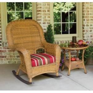 Tortuga Sea Pines Collection LEX-RT1-M-MONS Rocker and Table Bundle in Mojave Wicker and Monserrat Sangria Fabric