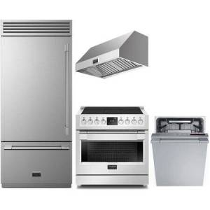 """Fulgor Milano 4 Piece Kitchen Appliances Package with F7PBM36S1L 36"""" Bottom Freezer Counter Depth Refrigerator  F6PIR365S1 36"""" Electric Induction Range  F6PH36DS1"""