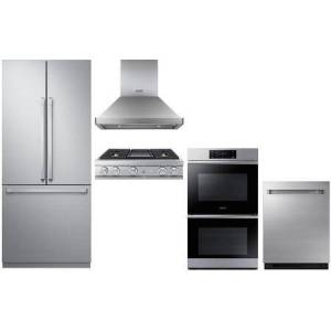 """Dacor 5 Piece Kitchen Appliances Package with 36"""" French Door Refrigerator  30"""" Electric Double Wall Steam Oven  36"""" Liquid Propane Rangetop  36"""" Island"""