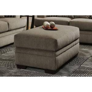 """Chelsea Home Furniture Calexico Collection 183655-1664-O-CP 50"""" Ottoman with Rectangular Shape  Block Feet  Cornell Pewter Fabric Upholstery in Grey and Brown"""