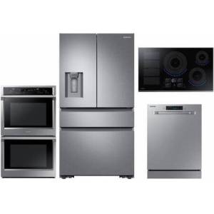 """Samsung 4 Piece Kitchen Appliance Package with RF23M8070SR 36"""" 4 Door French Door Refrigerator  NV51K6650DS 30"""" Smart Electric Double Wall Steam Oven"""