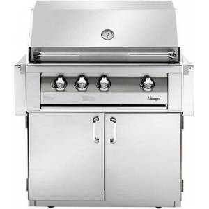 """Vintage VBQ36G-L 36"""" Gold Freestanding Grill With 924 Sq. Inches Total Grilling Area  3 18SR Stainless Steel Burners  15 000 BTU Infrared Rotisserie Burner"""