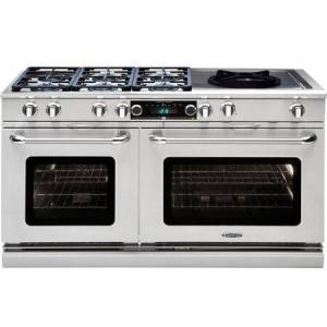 """Capital CSB606WW-N 60"""" Connoisseurian Series Dual Fuel Natural Gas Range with Self Clean  6 Sealed Burners  and 24"""" Wok  in Stainless"""