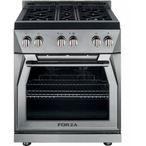 """Forza FR304GN 30"""" Professional Freestanding Gas Range with 4 Sealed Burners  5.2 cu. ft. Oven Capacity  Dual Fan Convection  Dual Halogen Oven Lighting"""