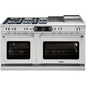 """Capital CSB606BG-N 60"""" Connoisseurian Series Dual Fuel Natural Gas Range with Self Clean  6 Sealed Burners  12"""" Grill  and 12"""" Griddle  in Stainless"""